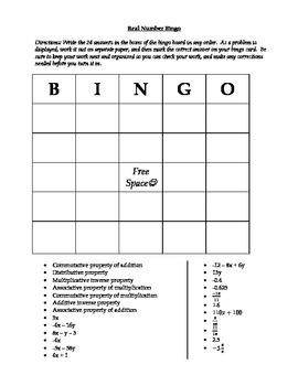 Real Number Bingo