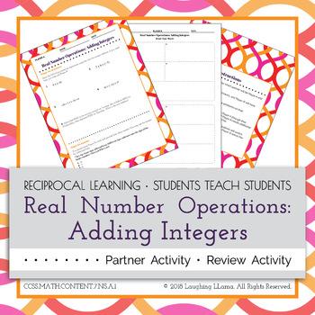 Adding Integers Partner Activity
