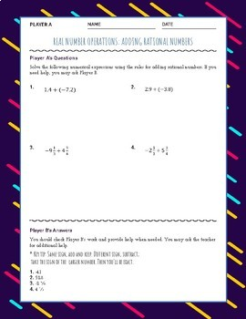 Adding Rational Numbers Partner Activity