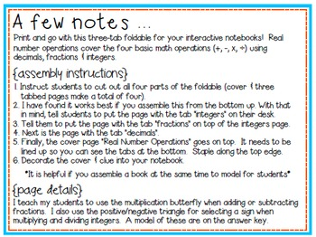 Real Number Operations Interactive Notebook Foldable