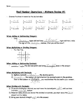 Real Number Operations Review - notes and practice