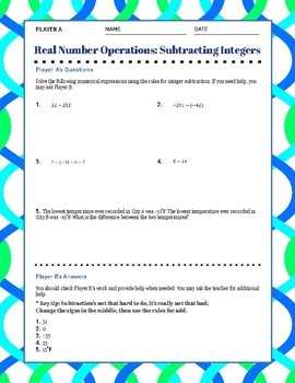 Subtracting Integers Partner Activity