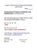 Real Number Properties