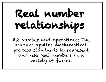 Real Number Relationships - Task Cards