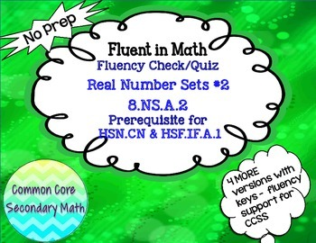Real Number Sets #2 Fluency Check/Quiz:  No Prep Fluent in Math Series