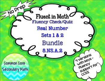 Real Number Sets Fluency Check Set Bundle:  No Prep Fluent