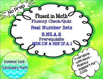 Real Number Sets Fluency Check Set 1:   No Prep Fluent in