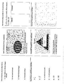 Real Number Sets Tri-Fold Notes
