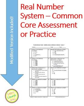 Real Number System - 20 question Assessment or Practice Differentiated
