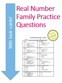 Real Numbers - 25 Practice Questions - worksheet or assessment w TASK CARDS