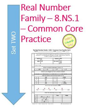Real Number System - 8.NS.2 Common Core Practice Problems SET TWO