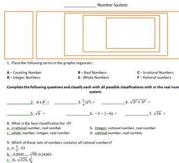 Real Number System Activity Page