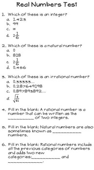 Real Number System Bundle