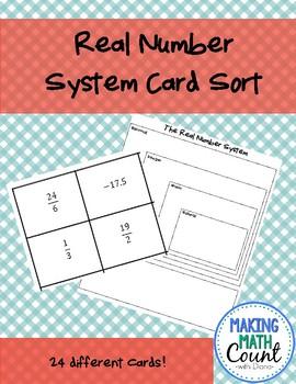 Real Number System Card Sort