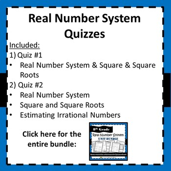 8.NS.1, 8.EE.2 Real Number System - Quiz