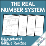 Real Number System Notes and Practice (Differentiated)