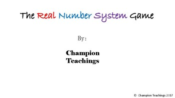 Real Number System Game  8.NS.A.2 and TEK 8.2A