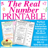 Real Number System - PRINTABLE Reference Sheet for Interac