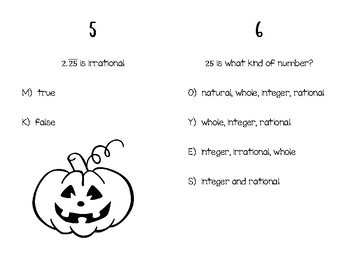 Real Number System Halloween Activity