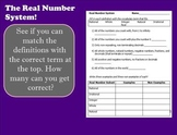 Real Number System Interactive Smartboard Games and Notes