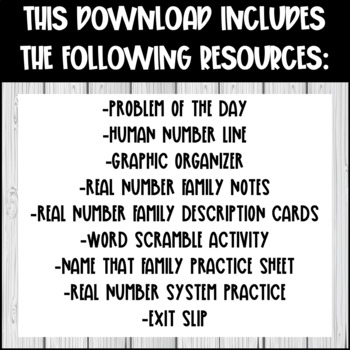 Real Number System Lesson - Graphic Organizer, Activities, Practice Wrkst + More