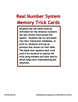 Real Number System Memory Cards