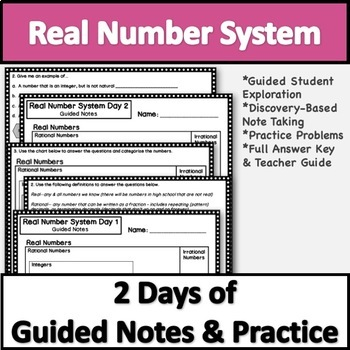 Real Number System Notes & Practice! TEKS 8.2A
