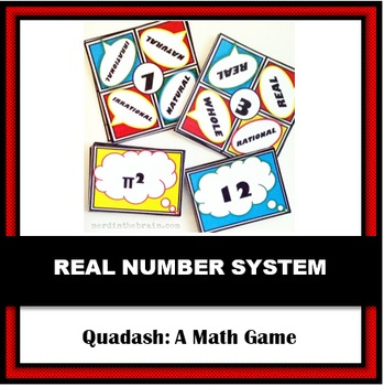 Real Number System Quadash Math Game: Practice with Number Sets and Subsets