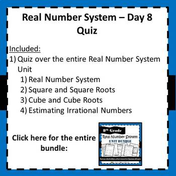 8.NS.1, 8.NS.2, 8.EE.2 Real Number System - Quiz