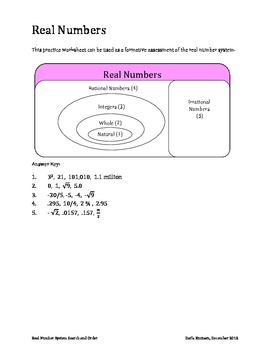 Real Number System Search and Order Worksheet by Darla ...