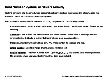 Real Number System Sort Activity