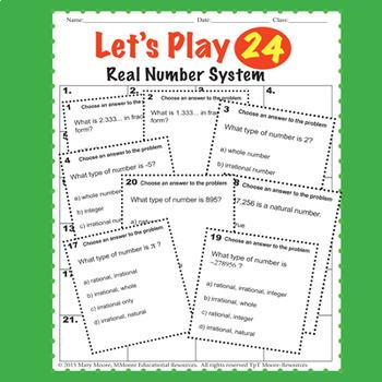 Real Number System TASKS - 72 Task Problems, 20 Question Test, Stations...