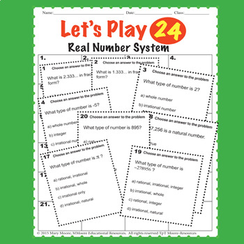 Real Number System TASKS - 72 Task Problems, 20 Question Test, Stations...