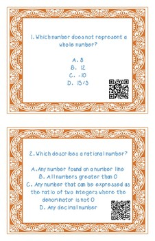 Real Number System Task Cards