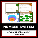 Real Number System Task Cards: Set of 40 Nerdy Dino-Themed