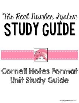 Real Number System Unit Study Guide Cornell Notes PDF