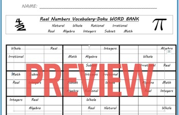 Real Number System Vocabulary Doku