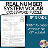 Real Number System Vocabulary Math Crossword Puzzle 8th Grade
