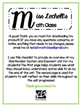 Real Number System and Exponents Student Checklist