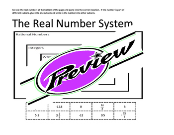 Real Number System - cut and paste activity