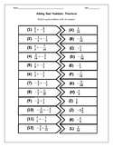 Real Numbers: Adding Positive and Negative Fractions Cut and Paste Matching