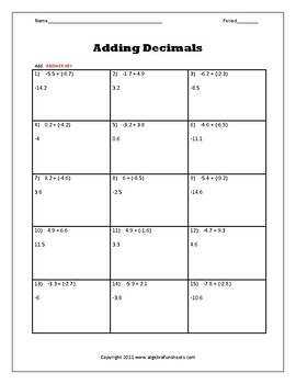 Real Numbers: Adding Positive and Negative Decimals Worksheet