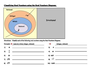 Real Numbers - Classifying (Worksheets, Handouts, Activity) by Amy ...