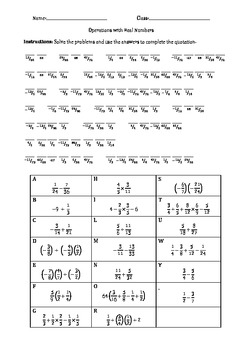 Real Numbers Cryptogram