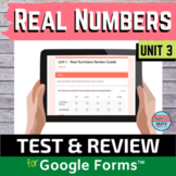 Real Numbers Digital Distance Learning Test and Review Gui