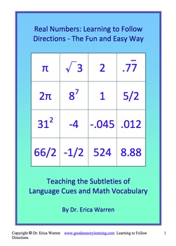 Real Numbers Following Directions: Teaching Language Cues and Math Vocabulary
