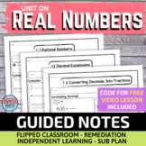 Real Numbers Guided Notes for Video Lessons