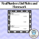 Real Numbers Notes and Homework Bundle