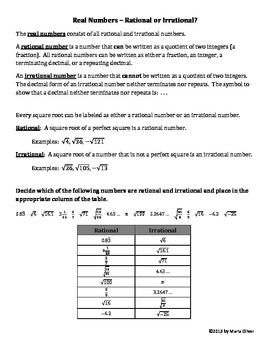 Real Numbers - Rational or Irrational?