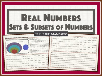 Real Numbers - Sets and Subsets of Numbers (Rational, Irrational, Integers, etc)